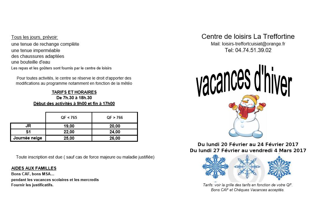 Programme hiver 2017