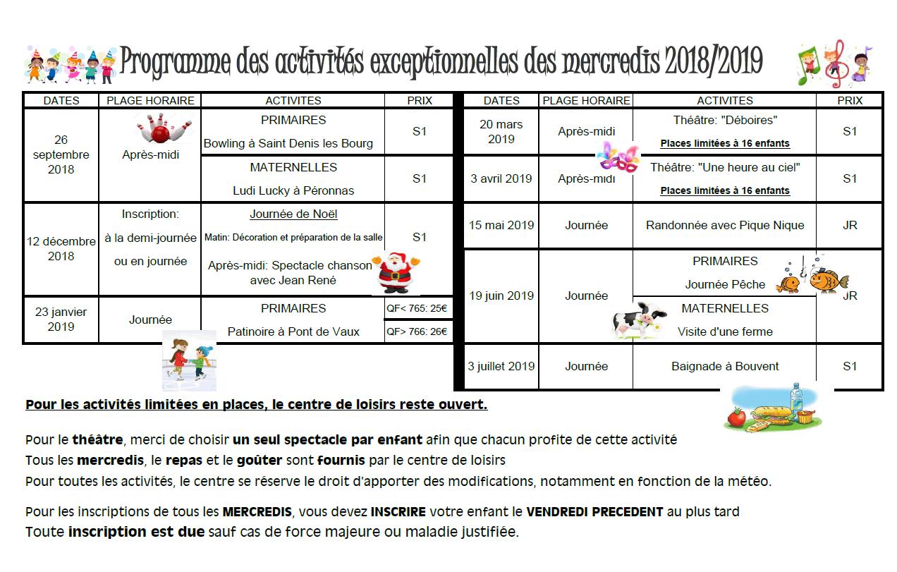 mercredis except 2018 2019