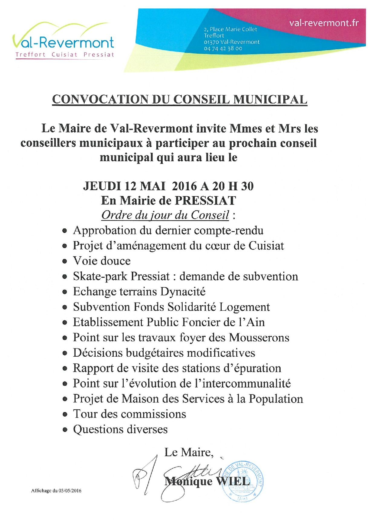 Convocation CM du 12 mai 2016