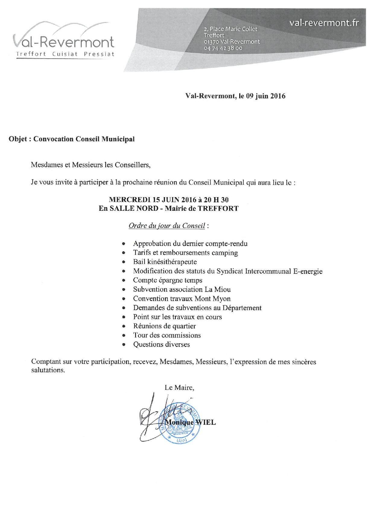 Convocation CM 15 juin