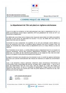 Communiqué de presse : le département de l'Ain est placé en vigilance sécheresse
