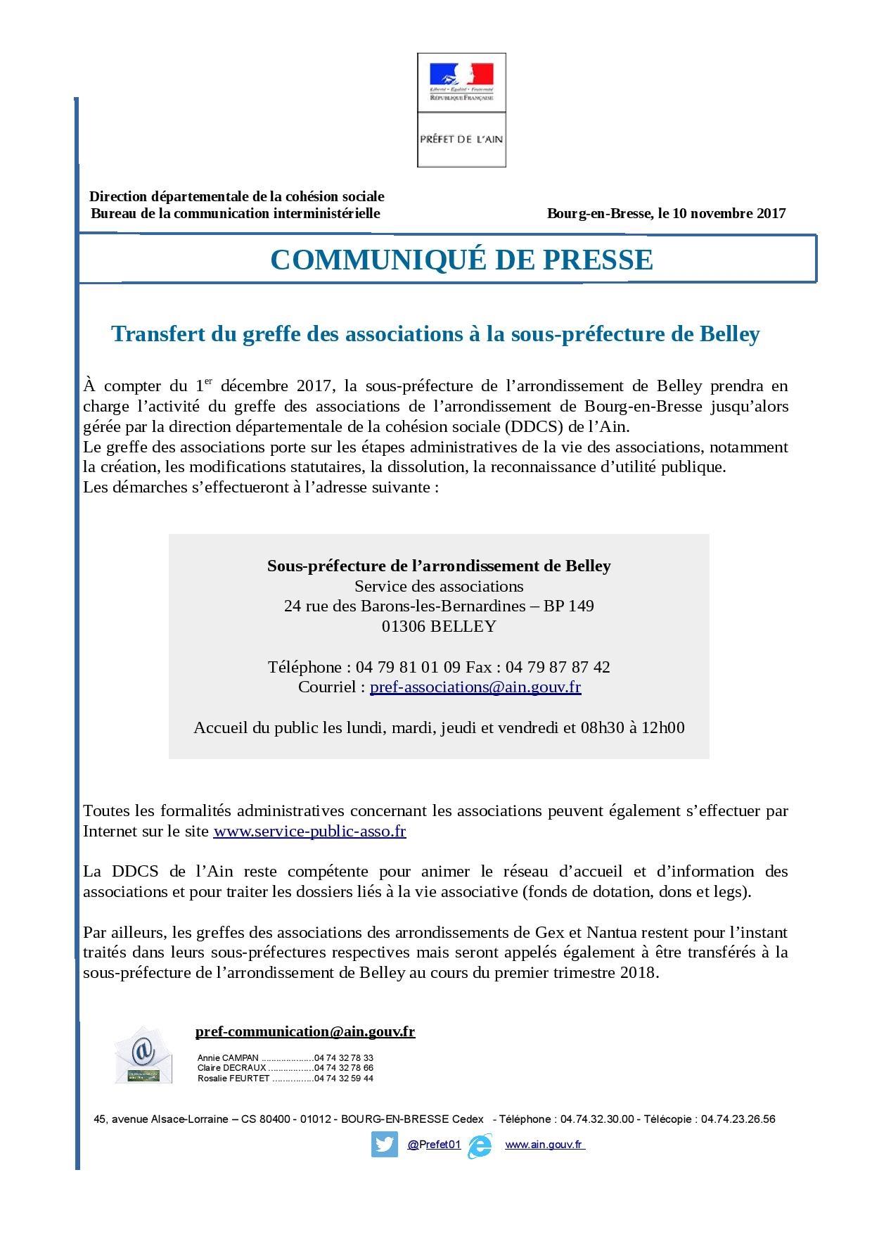 Site officiel de la commune de val revermont ain communiqu de presse de la pr fecture - Bureau des associations prefecture ...