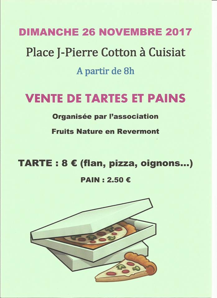 Vente de tarte Fruits et Nature en Revermont