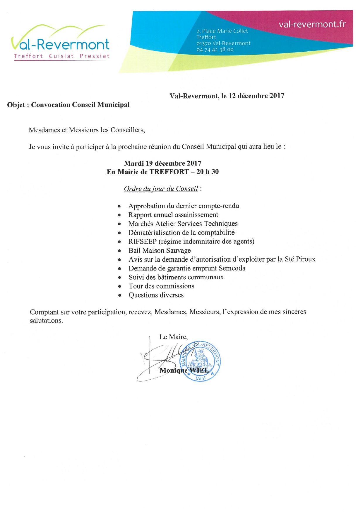 Convocation conseil municipal 19 décembre