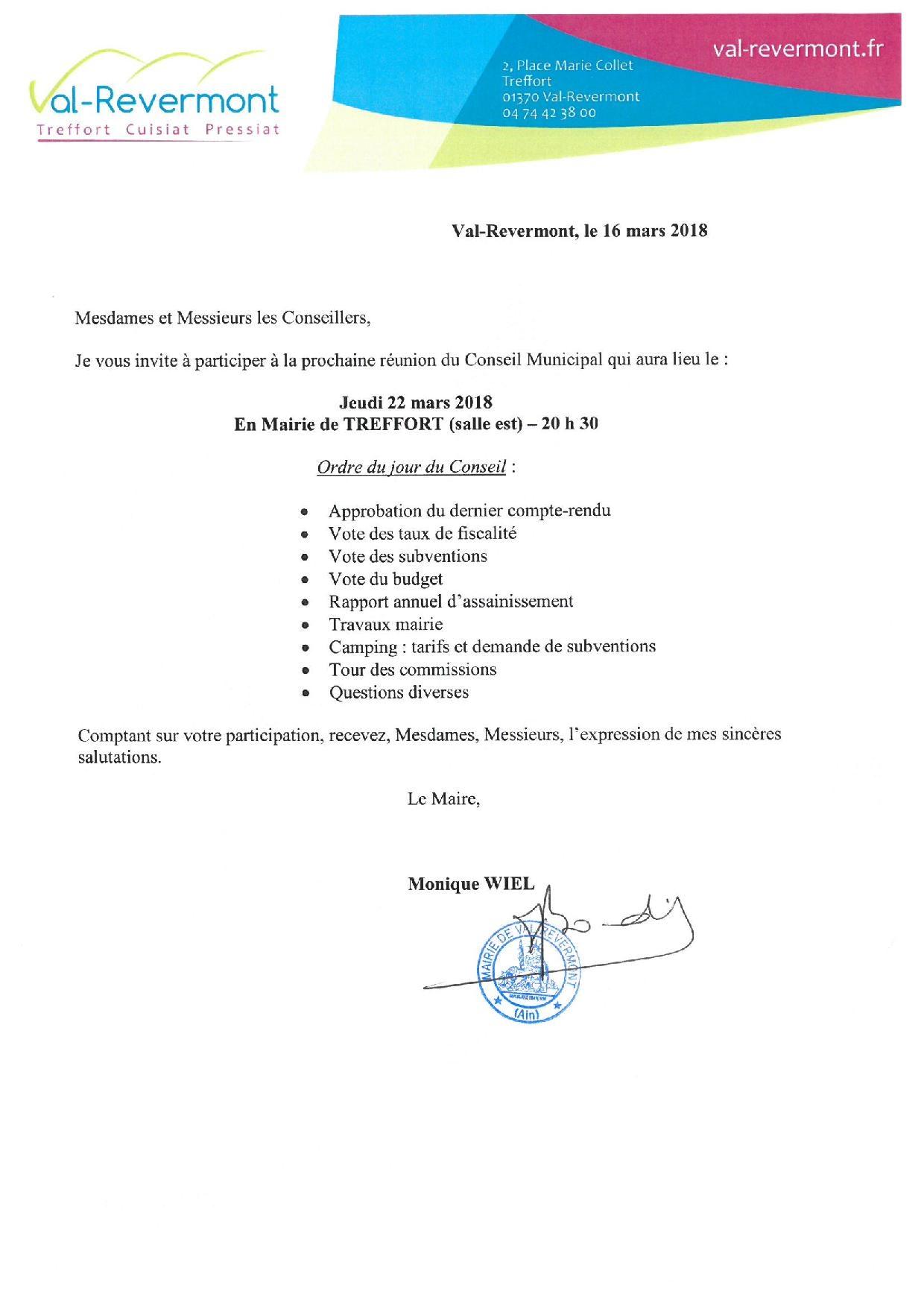 convocation CM 22 mars 2018
